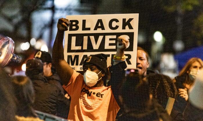 Black Lives Matter protestors in Skid Row, Los Angeles, Calif., on Dec. 30, 2020. (John Fredricks/The Epoch Times)