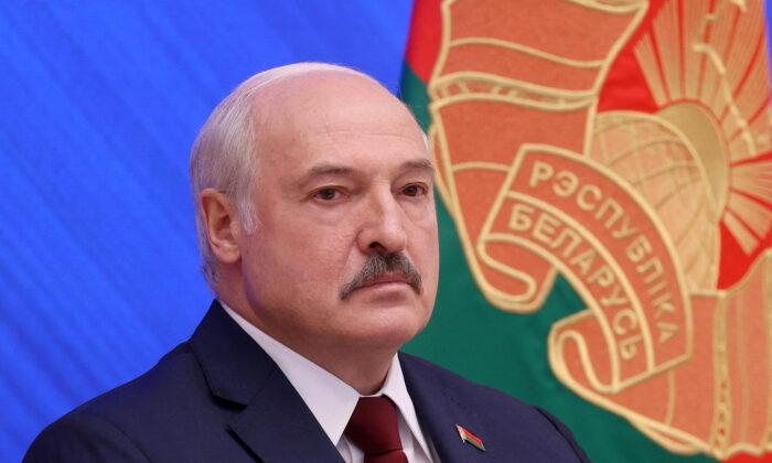Belarus' President Alexander Lukashenko looks on during a press conference in Minsk on Aug. 9, 2021. (Pavel Orlovsky/BELTA/AFP via Getty Images)