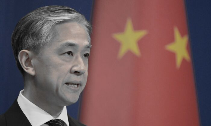 Chinese Foreign Ministry spokesman Wang Wenbin speaks at the Foreign Ministry briefing in Beijing, on Nov. 9, 2020. (Greg Baker/AFP via Getty Images)
