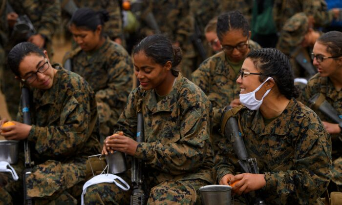 Female United States Marine Corps (USMC) recruits at Camp Pendleton in San Diego County, Calif. on April 22, 2021. (Patrick T. Fallon/AFP via Getty Images)