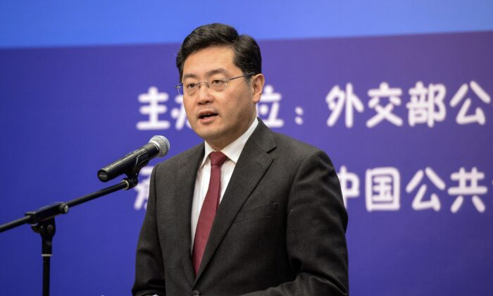 This photo taken on December 25, 2013 shows then director of the Foreign Ministry Information Department of China Qin Gang speaking during an event in Beijing. (-/CNS/AFP via Getty Images)