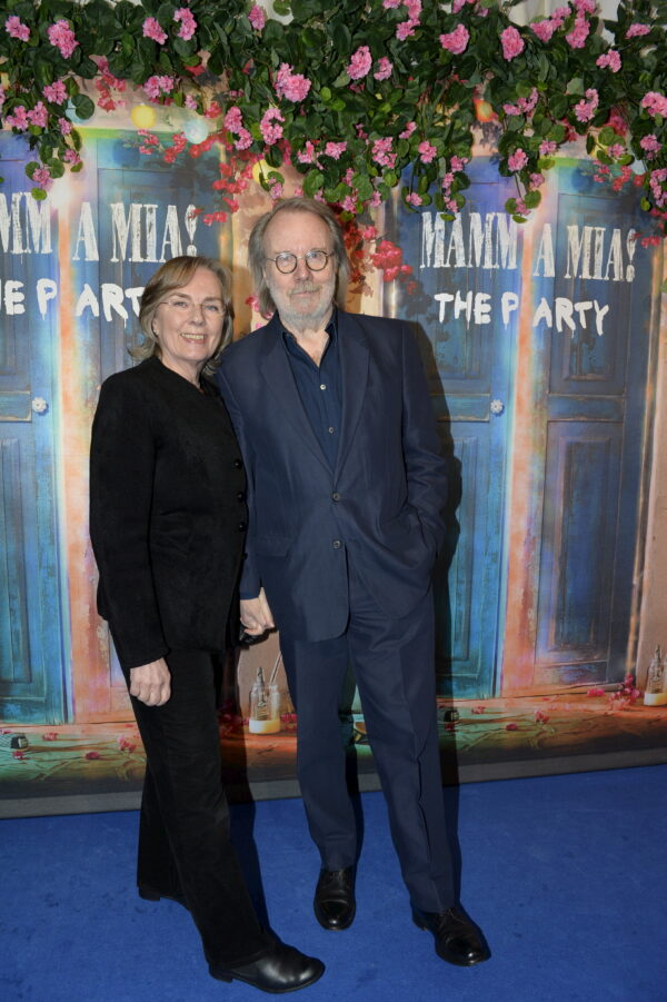 """Former Abba member Benny Andersson and his wife Mona Norklit arrive for the premiere of """"Mamma Mia! The Party"""" at Tyrol restaurant in Stockholm"""