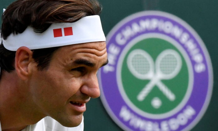 Switzerland's Roger Federer during his quarter final match against Poland's Hubert Hurkacz at the Wimbledon Championship, in London, U.K., on July 7, 2021. (Toby Melville/Reuters File Photo)
