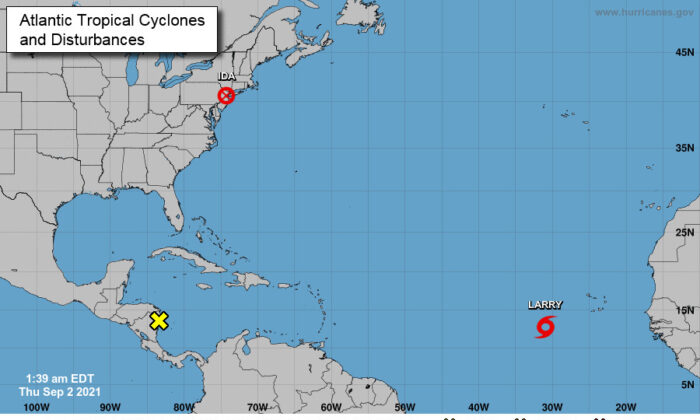 A map showing the tropical cyclones and disturbances in the Atlantic Ocean as of 1:39 a.m. ET on Sept. 2, 2021. (NHC)