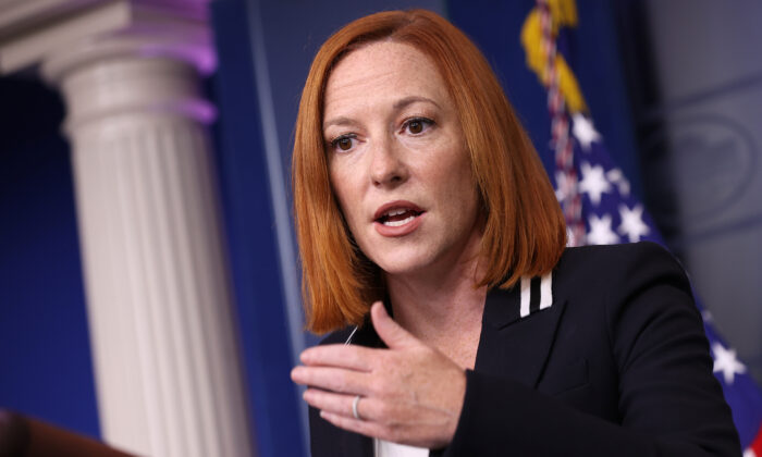 White House press secretary Jen Psaki speaks during a press briefing at the White House in Washington, DC on Sept. 9, 2021. (Kevin Dietsch/Getty Images)