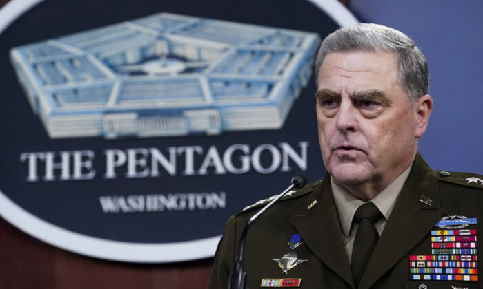 Joint Chiefs of Staff Chairman Gen. Mark Milley speaks during a briefing with Secretary of Defense Lloyd Austin at the Pentagon in Washington on Sept. 1, 2021. (Susan Walsh/AP Photo)