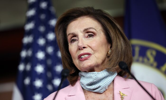 House Speaker Nancy Pelosi (D-Calif.) speaks at the U.S. Capitol in Washington on Aug. 25, 2021. (Kevin Dietsch/Getty Images)