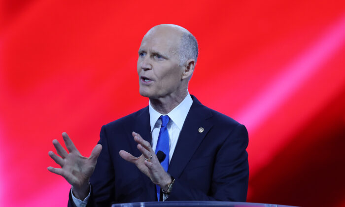 Sen. Rick Scott (R-Fla.) addresses the Conservative Political Action Conference in Orlando, Fla., on Feb. 26, 2021. (Joe Raedle/Getty Images)
