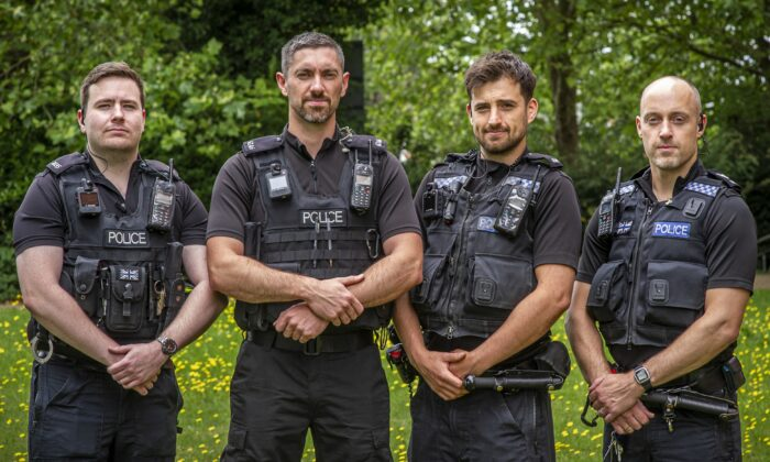 Four police officers (left to right) PC James Packman, PC Liam King, PC Liam Steele, and Sgt Iain Watkinson, in an undated handout photo. (Jason Bye/Thames Valley Police/PA)