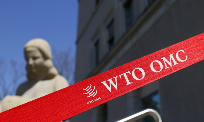 A logo is pictured outside the World Trade Organization (WTO) building in Geneva, Switzerland, on April 1, 2021. (Denis Balibouse/Reuters)