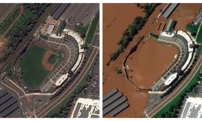 (Left) The Bank Ballpark in Bridgewater township, N.J., before flooding, on Aug. 25, 2021. (Right) The Bank Ballpark in Bridgewater township, N.J., after flooding, on Sept. 2, 2021. (Maxar Technologies via AP)