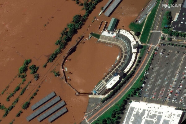 The Bank Ballpark after flooding