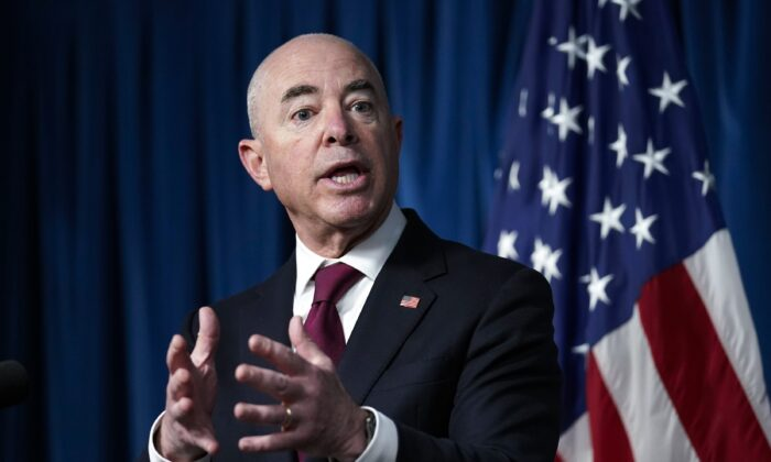 Homeland Security Secretary Alejandro Mayorkas updates reporters on the effort to resettle vulnerable Afghans in the United States, in Washington on Sept. 3, 2021. (J. Scott Applewhite/AP Photo)