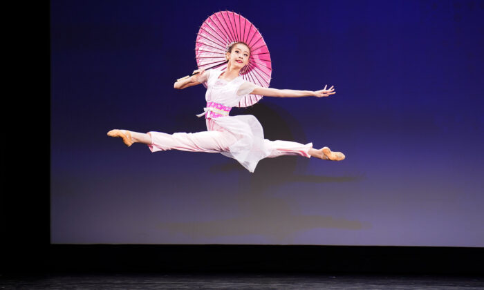 Carol Huang participates in the junior female division of the 9th NTD International Classical Chinese Dance Competition in New York state on Sept. 4, 2021. (Larry Dye/The Epoch Times)