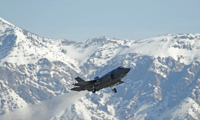 OGDEN, UT - MARCH 15: A F-35 fighter jet  take-offs for a training mission at Hill Air Force Base on March 15, 2017 in Ogden, Utah. Hill is the first Air Force base to get combat ready F-35's. They currently have 17 that might be deployed in the fight against terrorism and ISIS in the near future. (Photo by George Frey/Getty Images)