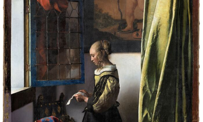 """Detail of """"Girl Reading a Letter at an Open Window,"""" circa 1659, by Johannes Vermeer. Oil on canvas; 32 5/8 inches by 25 3/8 inches. (Klut/Estel/SKD)"""