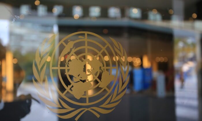 United Nations (UN) logo at the UN headquarters in New  York City, United States in Oct. 2016. (Lewis Tse Pui Lung/Adobe Stock)