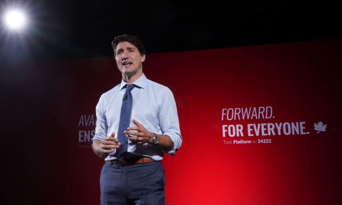 Liberal Leader Justin Trudeau reveals his party's election platform in Toronto on Sept. 1, 2021. (The Canadian Press/Nathan Denette)