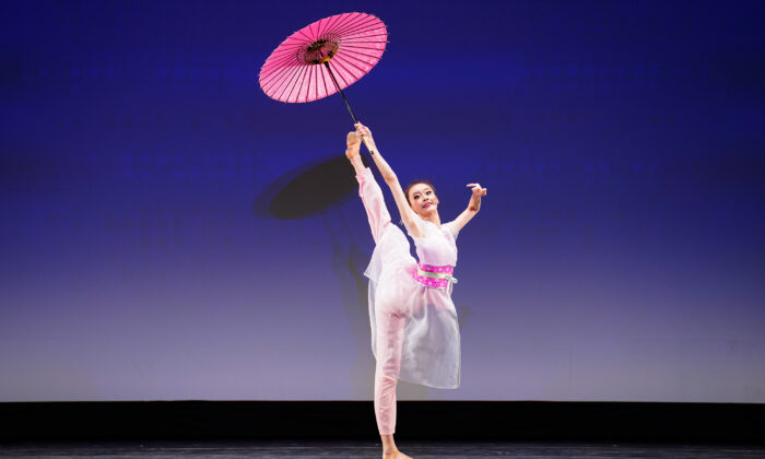 Carol Huang performed in the Adult Female Division of the 9th NTD International Classical Chinese Dance Competition in New York state on Sept. 4, 2021. (Larry Dye/The Epoch Times)