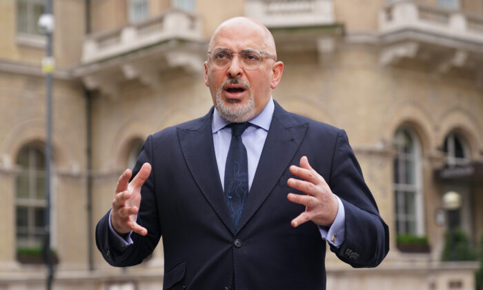 Undated photo showing the UK's vaccines minister Nadhim Zahawi at BBC Broadcasting House in central London. (Yui Mok/PA)