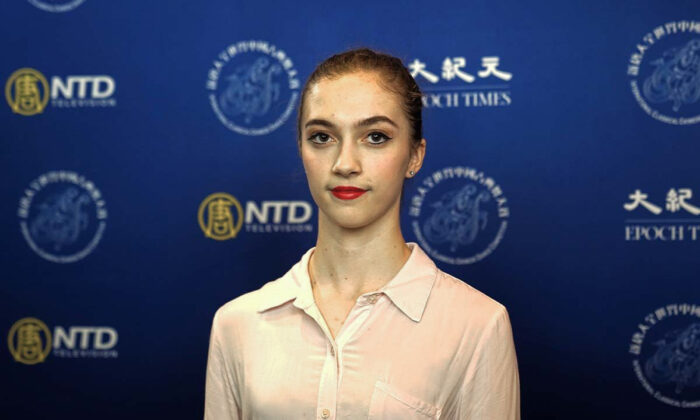 Lillian Parker participated in the junior female division of the 9th NTD International Classical Chinese Dance Competition in New York state on Sept. 4, 2021. (The Epoch Times)