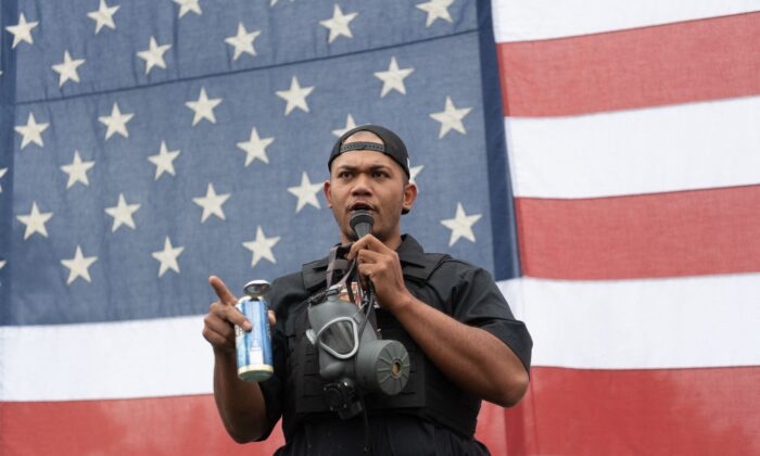 Tusitala Toese, a member of the Proud Boys, in Portland, Ore., on Aug. 22, 2021. (Mathieu Lewis-Rolland/AFP via Getty Images)