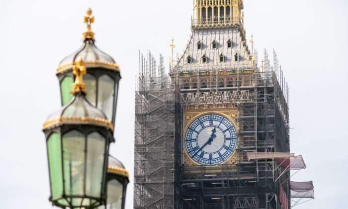Big Ben at the Palace of Westminster, in central London on Sept. 6, 2021. (Stefan Rousseau/PA)