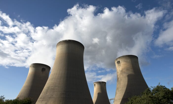 A view of the cooling towers of the Drax coal-fired power station near Selby, northern England, on Sept. 25, 2015. (Oli Scarff/AFP via Getty Images)