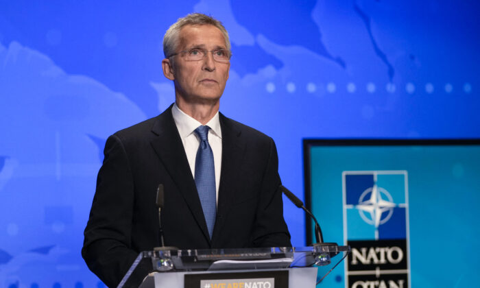 NATO Secretary General Jens Stoltenberg attends a NATO Foreign Ministers video meeting following developments in Afghanistan at the NATO headquarters in Brussels on Aug. 20, 2021. (Francisco Seco/POOL/AFP via Getty Images)