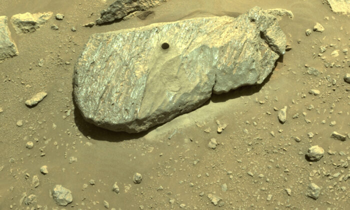 The hole drilled by the Perseverance rover during its second sample-collection attempt in Mars' Jezero Crater, on Sept. 1, 2021. (NASA/JPL-Caltech via AP)