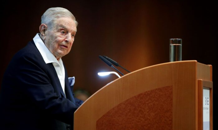 Billionaire investor George Soros speaks to the audience at the Schumpeter Award in Vienna, Austria, on June 21, 2019. (Lisi Niesner/Reuters)