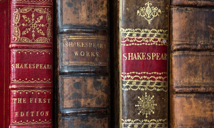 The first four folios of William Shakespeare's work during an unveiling for auction at Christie's King Street in London on April 19, 2016. (Chris Ratcliffe/Getty Images)