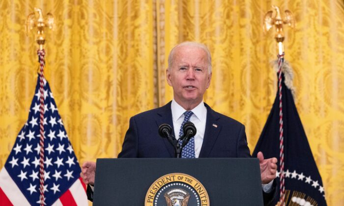 President Joe Biden speaks on workers rights and labor unions in the East Room at the White House on Sept. 8, 2021. (Kevin Dietsch/Getty Images)