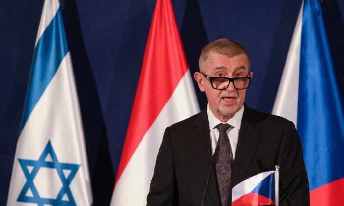 Czech Prime Minister Andrej Babis speaks during a joint press conference in Jerusalem, Israel on March 11, 2021. (Abir Sultan/AFP via Getty Images)
