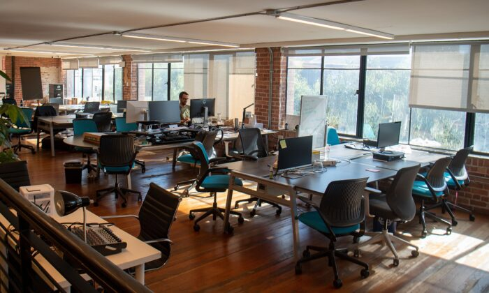 Parisoma, a coworking space, is seen mostly empty in San Francisco, on March 12, 2020. (Josh Edelson/AFP via Getty Images)