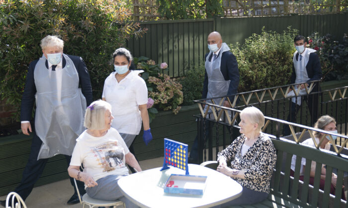 Politicians, led by Prime Minister Boris Johnson, visit residents in the Westport Care Home for the elderly in Stepney Green, in London, England, on Sept. 7, 2021. (Paul Edwards/WPA Pool/Getty Images)