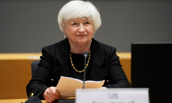 Treasury Secretary Janet Yellen prepares to speak during a meeting at the European Council building in Brussels, Belgium, on July 12, 2021. (Virginia Mayo/AP Photo)