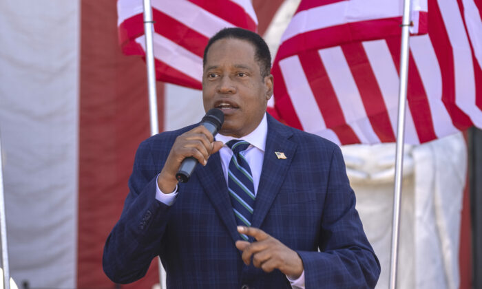 Republican recall candidate Larry Elder speaks in Westminster, Calif., on Sept. 4, 2021. (David McNew/Getty Images)