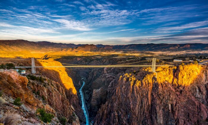 The Royal Gorge Bridge spans the cliffs of the Royal Gorge. For several decades it was the world's highest bridge. (Courtesy of the Royal Gorge Region)