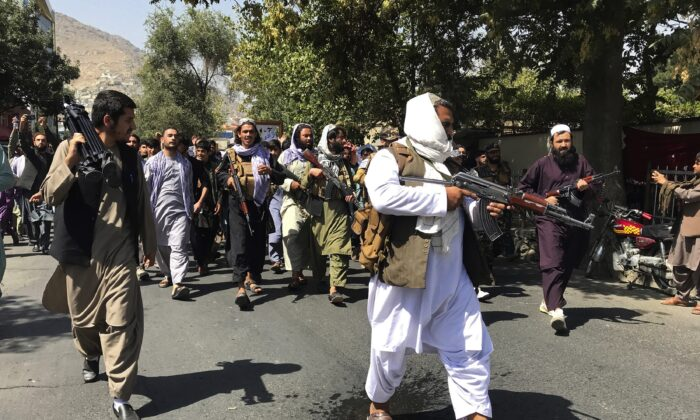Taliban soldiers are seen in Kabul, Afghanistan, on Sept. 7, 2021. (Wali Sabawoon/AP Photo)