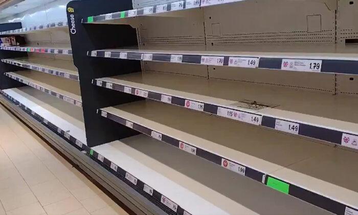 Empty shelves in retailer Lidl in Wolverton, Milton Keynes, UK, on July 22, 2021. (Courtesy of Twitter @Gramblera/Screenshot by PA)