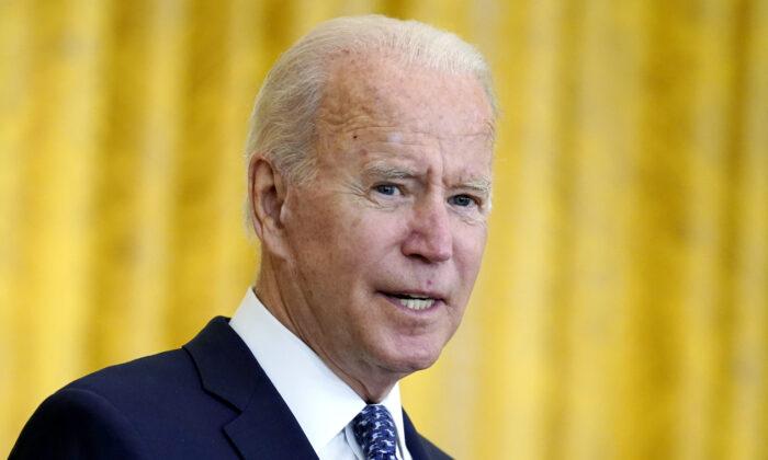 President Joe Biden speaks in the East Room of the White House on Sept. 8, 2021. (Evan Vucci/AP Photo)
