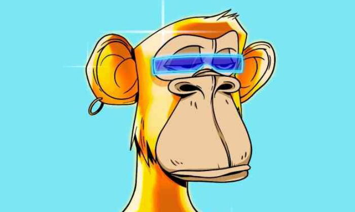 An algorithmically-generated cartoon image of an ape, number 5809 in a set of 10,000 collectible non-fungible tokens (NFTs) called the Bored Ape Yacht Club, made by the U.S.-based company Yuga Labs, in this digital image, 2021. (Courtesy Sotheby?s /via Reuters)