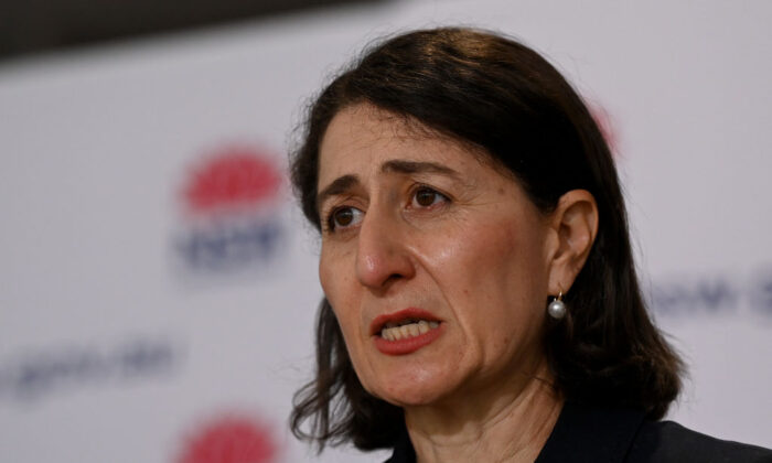 NSW Premier Gladys Berejiklian speaks to the media during a COVID-19 press conference in Sydney, Australia, on Sept. 9, 2021 (Bianca De Marchi - Pool/Getty Images)