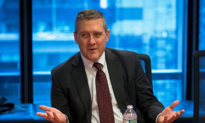 St. Louis Fed President James Bullard speaks about the U.S. economy during an interview in New York on Feb. 26, 2015. (Lucas Jackson/Reuters)