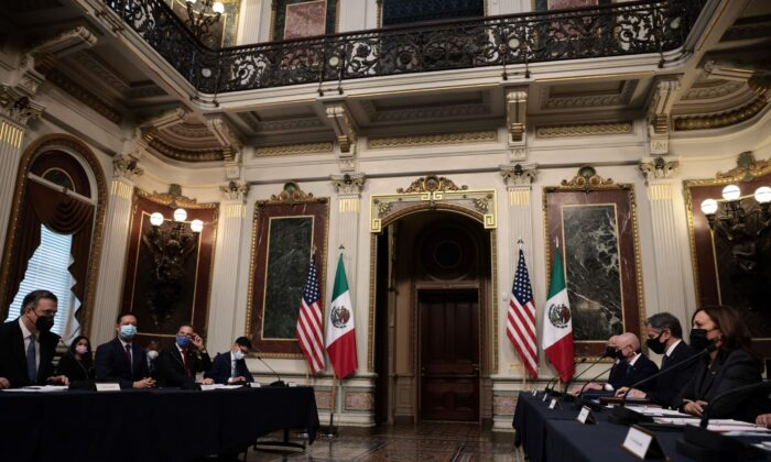 Mexican Foreign Minister Marcelo Ebrard delivers remarks at the start of the U.S.-Mexico High Level Economic Dialogue (HLED) with the delegation from Mexico and the United States including U.S. Vice President Kamala Harris at the Eisenhower Office Building in Washington, on Sept. 9, 2021. (Anna Moneymaker/Getty Images)