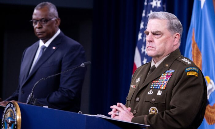 Secretary of Defense Lloyd Austin and Joint Chiefs of Staff Chairman Army Gen. Mark Milley, right, hold a press briefing about the US military drawdown in Afghanistan, at the Pentagon in Washington on Sept. 1, 2021. (Saul Loeb/AFP via Getty Images)