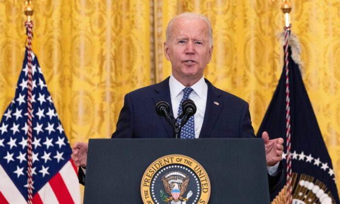 President Joe Biden speaks on workers rights and labor unions in the East Room at the White House in Washington on Sept. 8, 2021. (Kevin Dietsch/Getty Images)
