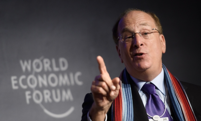 BlackRock Chairman and CEO Laurence D. Fink attends a session at the World Economic Forum annual meeting in Davos, on Jan. 23, 2020. (Fabrice Coffrini/AFP via Getty Images)
