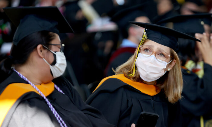 Cal State Los Angeles graduates prepare for their commencement ceremony  in Los Angeles, Calif., on July 27, 2021. (Mario Tama/Getty Images)